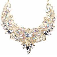 Fashion Rhinestone Crystal Chunky Statement Bib Pendant Chain Choker Necklace,,
