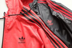 Adidas Originals Reversible Windbreaker jacket L Black Red Trefoil shell rare