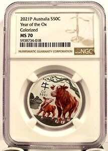 2021 Australia Lunar Year of Ox Colorized 1/2 oz .9999 Silver Coin - NGC MS 70