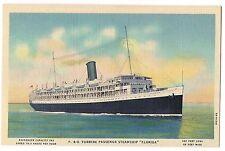 P. & O. TURBINE PASSENGER STEAMSHIP FLORIDA Postcard Linen CUBA Ship Boat