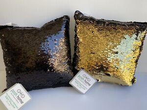 NEW Black & Gold Reversible Sequin Set of 2 Decor Pillows 12 x 12 Halloween