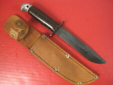 WWII Era US Army Western Shark Fighting Knife w/Leather Handle &  Scabbard #1