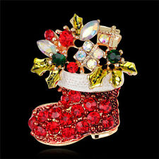 Pin Brooch Xmas Gift Gold ToneNew New Rhinestone Crystal Christmas Stocking Boot