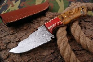 MH KNIVES CUSTOM HANDMADE DAMASCUS GUT HOOK HUNTING/SKINNER KNIFE D-78K