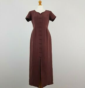 Monsoon Womens Purple Plum High Waist Fitted Vintage Maxi Dress 100% Silk UK 12