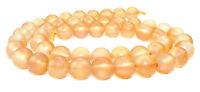 😏 Bergkristall orange-rote matte Kugeln in 6 & 8 mm Perlen Strang für Kette 😉