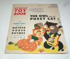 1946 NICE COPY Animated Toy Book THE OWL & THE PUSSY CAT Pop-Up Type EOINA