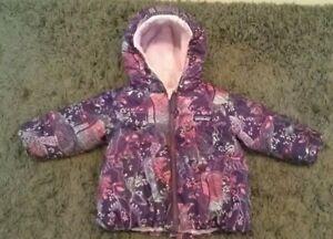 Patagonia Animal Reversible Winter Lined Coat Baby Girls Infant Kids 12-18M Pink