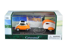 BMW ISETTA 250 ORANGE W/CARAVAN TRAILER & CASE 1/43 DIECAST MODEL CARARAMA 14708