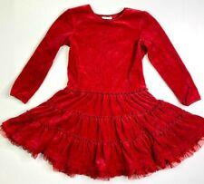 Hanna Andersson Girls Red Velour Ruffle Hem Dress 120 6 7 Christmas
