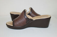 ROCKPORT Signature Series Brown Leather Slip On Wedge Women's Sandals Shoes  ...