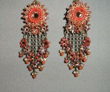 Michal Negrin Vintage Orange Golden Bead Flower Floral Drop Dangle Earrings