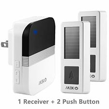 MEKO Solar Wireless Doorbell Chime with 2 Remote Push Button and 1 Plugin Rec...