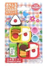 Iwako Erasers Blister Pack Japanese Onigiri Bento Boxes Set Cups Green Drink Era