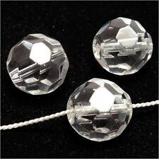 Lot de 10 perles à FACETTES 14mm en Cristal de Bohème Transparent