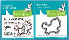 Lawn Fawn Photopolymer Clear Stamp & Die Combo ~ WINTER UNICORN ~ LF1218, LF1219