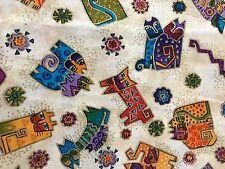 """6 yards of Laurel Butch """"Fantastic Felines""""-Aztec Cats Fabric"""