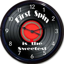 """Vinyl Record Lp Wall Clock First Spin is The Sweetest New 10"""""""