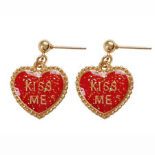 Romantic Red Hearts Kiss Mee Gold Tone Love Valentianes Day Gift Girl Earrings