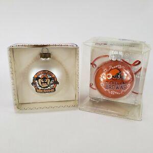 VTG NFL Cleveland Browns Christmas Glass Ornaments: TAZ Looney Tunes & Team Logo