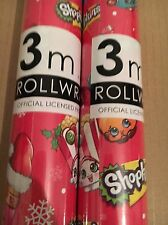 SHOPKINS Gift Wrapping Paper 3 Meter Roll  Giftwrap Xmas