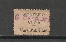 3462-RARO SELLO CUOTA CHIVA VALENCIA REPUBLICA MONTEPIO  0,50 CENTIMOS,DISTINTOS