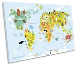 Map World Kids Room Print SINGLE CANVAS WALL ART Picture Blue