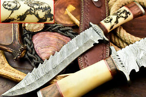 Custom Hand Made Damascus Blade Laser Etched Hunting Bowie Knife | Camel Bone