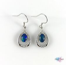 Genuine Australian Opal Hook Earrings 7x5mm 925 Sterling Silver Drop Dangle