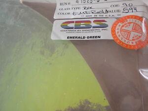 "Dichroic Glass:CBS 90 COE Emerald Green on Flat Clear - 3""Sq"