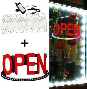 30FT Storefront LED Light White module Brightest + Retail LED Open Sign + Power