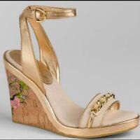COACH Ellette Cork Wedge Sandal Logo/Rose Tattoo Heel 8.5 B