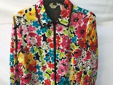 LAURA ASHLEY PETITE FLORAL POLKA DOT JACKET RED FUCHSIA YELLOW BLUE SZ PM