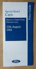 FORD SPECIAL EDITIONS 1994 UK Mkt Prices Brochure  Fiesta Escort Mondeo Maverick