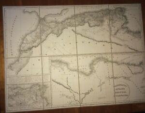 MAURITANIE, AFRIQUE, CYRENAÏQUE ANCIENNE. CARTE PLIÉE ET TOILÉE DE 1830.