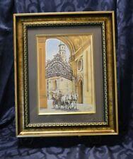 Original Main Palace Gate Vienna Austria Watercolor Painting Signed Horses
