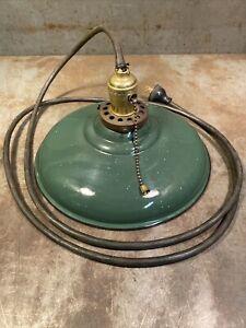 Vintage Green Porcelain Enamel Light Fixture Farm Barn Industrial Decor Corded