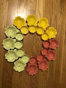 VINTAGE Hofmann Industries 12 Hibiscus Flower Snack Nut Dish Cup Holder Coasters
