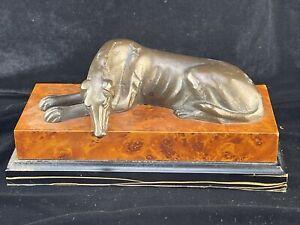 Bronze Greyhound Sculpture on Burlwood Base
