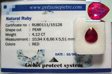 Gioielli e gemme di rubino naturale rosso a goccia