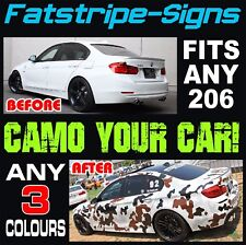 PEUGEOT 206 CAMO GRAPHICS STRIPES DECALS STICKERS GTI PUG 1.0 1.4 1.6 2.0 CC GTI