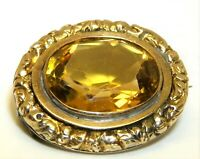 9CT GOLD CITRINE BROOCH PIN ANTIQUE 9 CARAT YELLOW GOLD OVAL