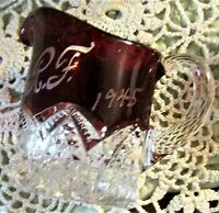 Antique Ruby Stained Button Arches by Duncan Glass Personal Creamer R.F. 1945