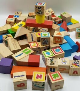 Disney Wooden Blocks Mickey Mouse 85 Letters Shapes Colors Kids Youth Learning