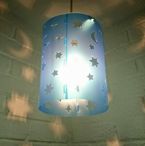 lampshade light shade GIRL BOY star stars BLUE small bedroom baby projection