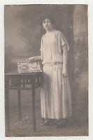 Pretty Young Stylish Woman Cute Girl Lady Female Dress Hair 1920s Antique Photo