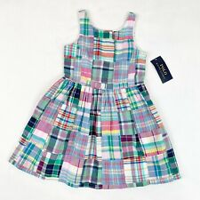 Polo Ralph Lauren NWT Girl's 4 Sleeveless Plaid Patchwork Dress Multicolor