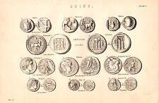 1868 PRINT ~ COINS ~ ANCIENT GRECIAN ATHENS CROTONA AEGINA SYRACUSE THEBES