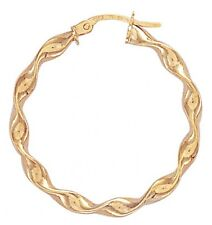 9ct Gold Twist Hoop Earrings Diameter 3.1cms  1.3gms  3mm Thick NEW