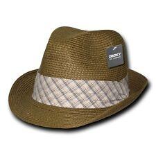 Brown Woven Braid Brim Straw Fedora Fedoras Hat Hats Plaid Ribbon Band Sz L/XL